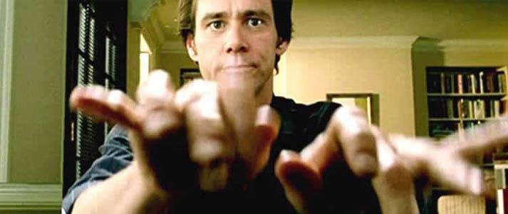 Jim Carrey Bruce Tout-Puissant tapant vite