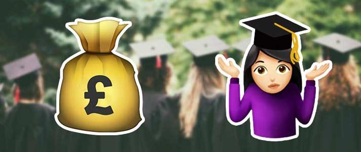 emojis de sac d'argent et diplômé haussant les épaules