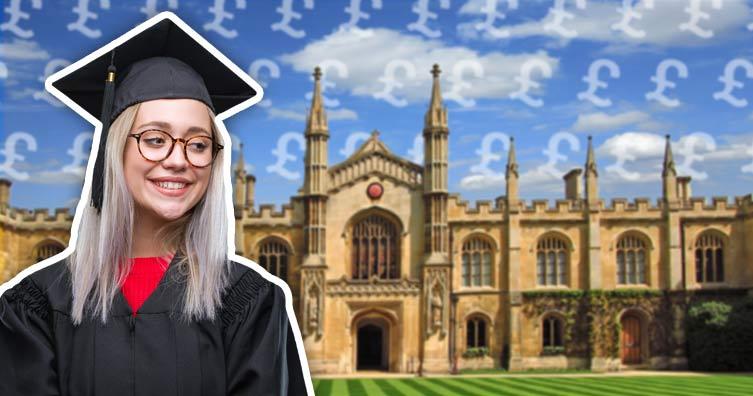 femme diplômée, regarder, université, à, signes livre