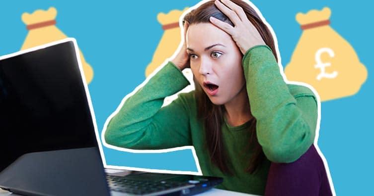 femme, choqué, ordinateur portable, argent, sac, emojis