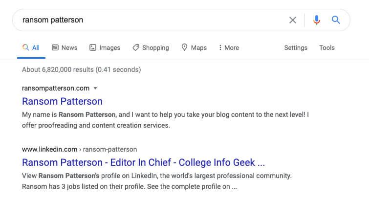 exemple de recherche google pour Ransom Patterson montrant le classement du site personnel pour le mot clé