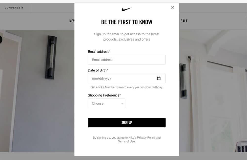 Capture d'écran par e-mail sur le site Web de Nike