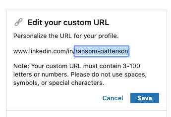 Modification d'une URL personnalisée