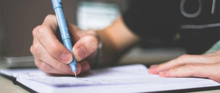 écrire dans un cahier