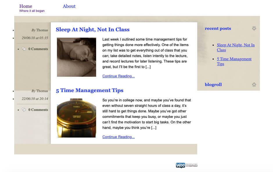 Site Web de College Info Geek tel qu'il était en 2010