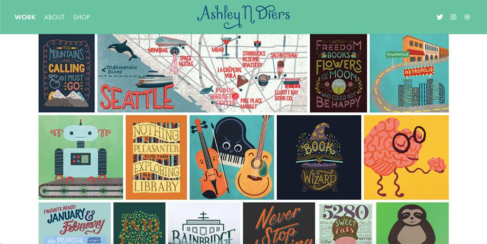 Galerie d'illustrations sur le site d'Ashley Diers