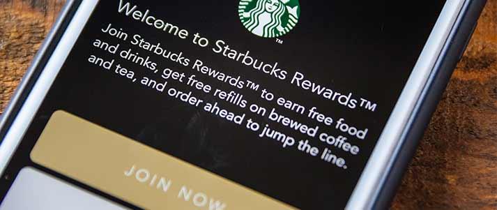 écran de l'application starbucks rewards