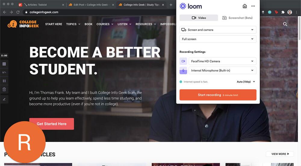 Interface du logiciel d'enregistrement d'écran Loom
