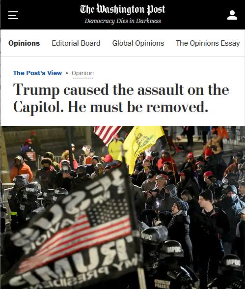 WaPo: Trump a provoqué l'assaut sur le Capitole.  Il doit être enlevé.