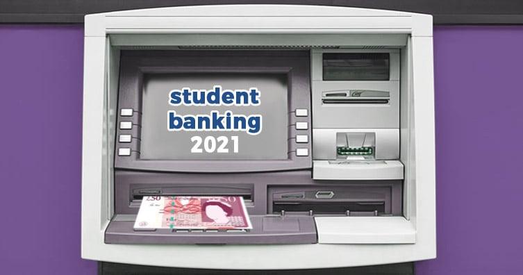 Distributeur automatique de billets avec texte 'Banque d'étudiants 2021'